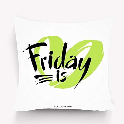 w Pillow Cushion Cover, Decorative Square Accent Pillow Case, 18 X 18 inches Friday Hand Written Calligraphy Brush Painted Letters Black Modern Lettering Isolated White ()