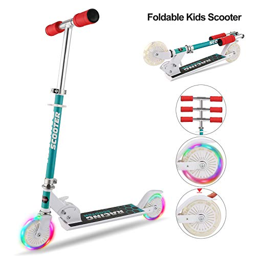 Hikole Scooter for Kids with LED Light Up Wheels, Adjustable Height Kick Scooters for Boys and Girls, Rear Fender Break 5lb Lightweight Folding Kids Scooter, 110lb Weight Capacity ()