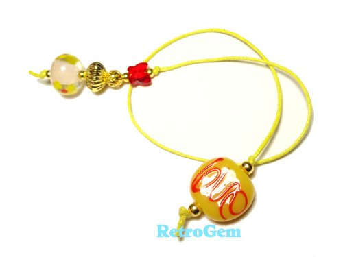 """RetroGem Yellow Glass Bead Book Thong Bookmark With Red Swarovski Element Crystal Butterfly (9"""" Long)"""