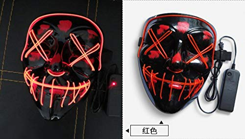 LED Halloween Mask - Halloween Scary Cosplay Light up Mask, EL Wire Mask Glowing mask for Halloween Festival Party Red