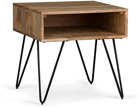 SIMPLIHOME Hunter Solid Mango Wood and Metal 22 inch wide Square Mid Century Modern End Side Table