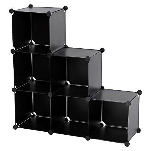 SONGMICS 3-Tier DIY Storage Cube Organizer Plastic Closet Shelf 6-Cube Bookcase Cabinet Black ULPC06H (3 Tier Toy Storage)