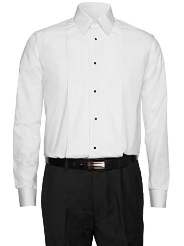 Gentlemens Collection Men's 1942 Lay Down Collar Tuxedo Shirt - White - 17.5 - Tuxedo Laydown Collar Shirt White