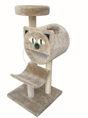 "Molly and Friends ""Molly's Choice"" Premium Handmade 3-Tier Cat Tree with Sisal, Model 283, Beige, My Pet Supplies"