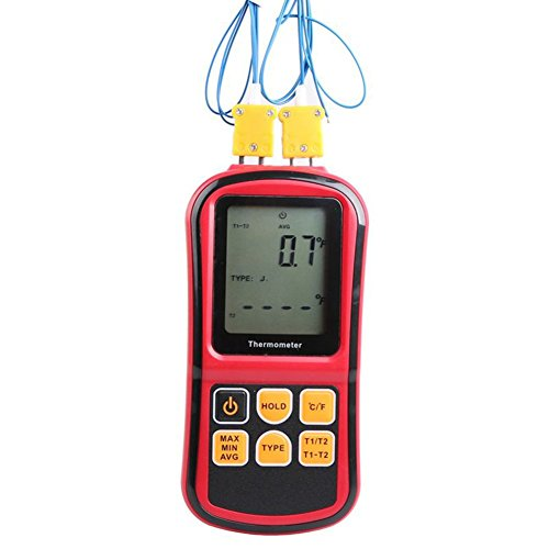 Briidea Dual-channel Digital Thermometer Thermocouple Sensor LCD Backlight Temperature Meter Tester for K/J/T/E/R/S/N Type Thermocouples