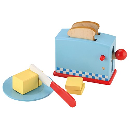 KIDS TOYLAND Play Food Set for Kids Wood Pop Up Toaster-Pretend Play Kitchen Sets with Accessories (9 pcs) By (Pretend Play Toaster)