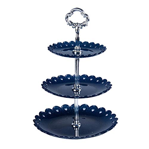 youul 3-Tier Round Cupcake Stand Cake Dessert Fruit Tea Stand Wedding Event Party Display Party Serving Platter Tower Plate With Rod Feet (Dark Blue)