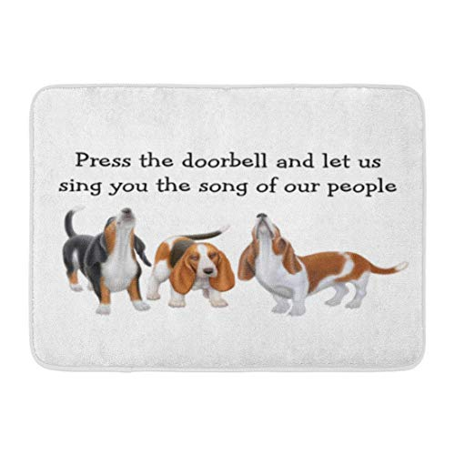 SPXUBZ Let Us Sing Cute Basset Hounds Non Slip Entrance Rug Outdoor/Indoor Durable and Waterproof Machine Washable Door Mat Size:18x30 inch