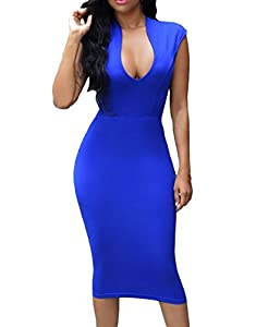 11. Huusa Low V-Neck Sleeveless Bodycon Cocktail Party Midi Dress