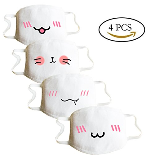 [Mouth Mask Anime,C.A.Z 4 PCS Cute Fashion Mask Emoticon Mouth-Muffle Kaomoji Anti-Dust Cute Kawaii Face Mask Mouth Mask] (One Of A Kind Costumes)