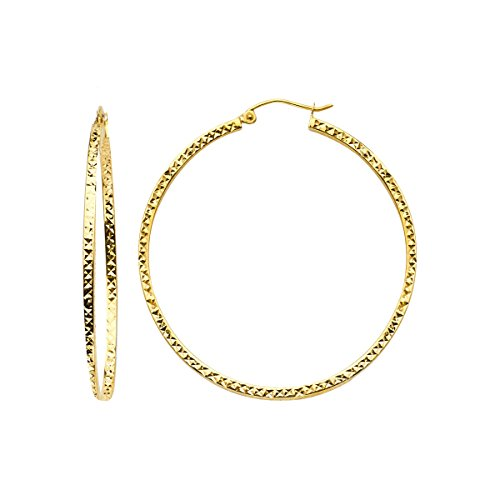 14K Yellow Gold Full Diamond Cut Hollow Square Tube Hoop Earrings (Diameter - 45 MM) by Top Gold & Diamond Jewelry