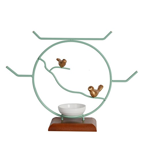 NIKKY HOME Bird Jewelry Stand Decorative Tabletop Round Necklace Holder Ring Tray