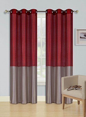 2 Tone Room - GorgeousHome (HEIDI) 2Pc Silky Silver Grommet Top Window Curtains Panels Drape Treatment 2 Tone New in Many Colors and Sizes (95