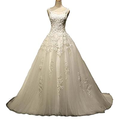 KAY&LAYLA A-Line Beading Wedding Dresses Scoop Neck Lace Bridal Gowns WD512027