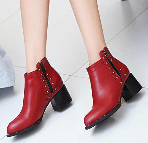 Cheville Boots Moto Femme Low Aisun Rouge Mode Rivets Bottines YqUZw6BRAx