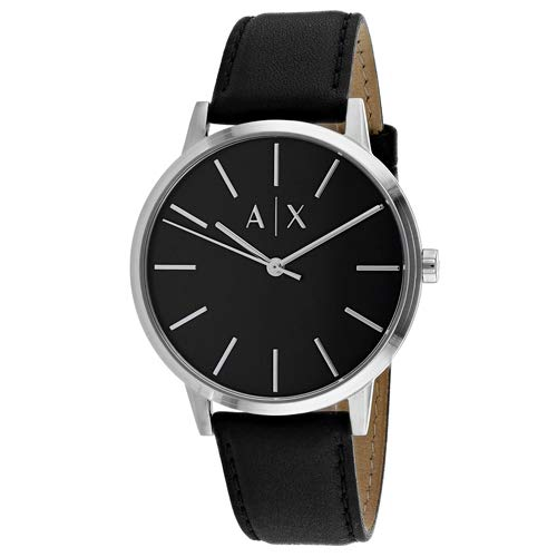 Armani Exchange Men's Cayde Stainless Steel Analog-Quartz Watch with Leather Strap, Black, 20 (Model: AX2703)