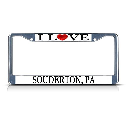 License Plate Frame I Love Heart Souderton Pa Aluminum Metal License Plate Frame (Pa Souderton)