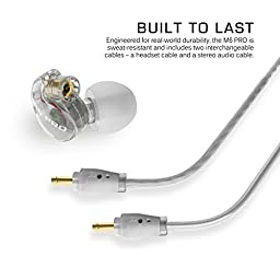 MEE audio M6 PRO Universal-Fit Noise-Isolating Musician\'s In-Ear Monitors with Detachable Cables (Clear)