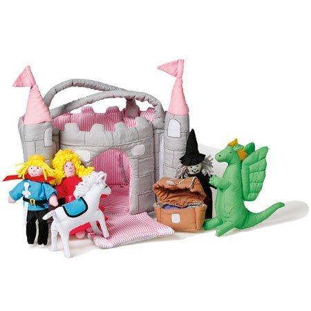 Oskar & Ellen 6 piece Castle Play Bag Pink Towers Soft Fabric Playset (Fairy Castle Playset)