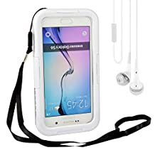 Durable Full Sealed Protection Shock/ Dust/ Dirt/ Snow/ Sweat/ Splashes/ Rain Proof - Attached Screen Protector - Waterproof Hard Shell Cover Case for Samsung Galaxy S6/ Edge 5.1 inch with Hand Strap + VanGoddy Earphones with MIC (White)