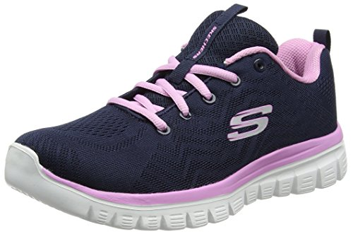 Blue Top Navy Skechers Pink 12615 Women Trainers Low OSAxT6gq