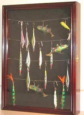 Display Case Wall Cabinet Shadow Box for Fishing Lures Baits Display, FLC01 (Mahogany) - Fishing Lure Display Case