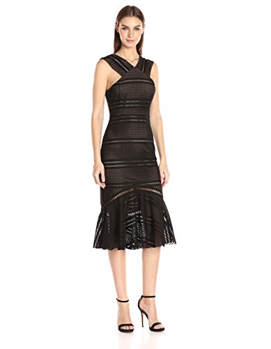 Black Halter Flounce Dress - Tracy Reese Women's Flounced Halter Dress, Black, L