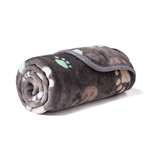 - luciphia Super Soft Premium Fluffy Fleece Dog Blankets for Puppy Cat Pets Paw Grey,Small(31