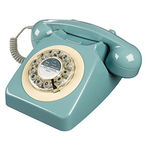 Wild Wood Rotary Design Retro Landline Phone for Home, French Blue