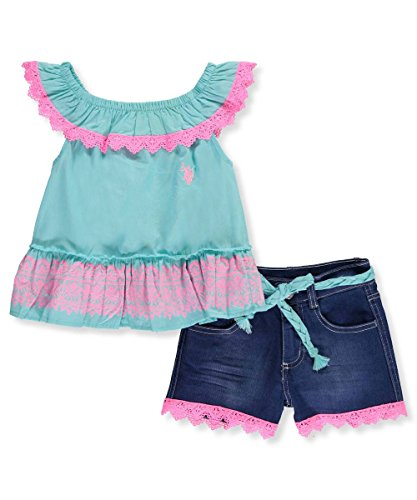 U.S. Polo Assn. Toddler Girls' Fashion Top and Short Set, Ruffle Neckline Poplin Denim Bermudas Multi, 2T Poplin Ruffle Top