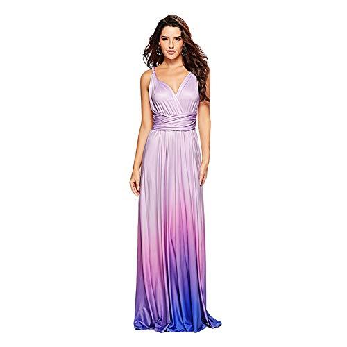 Cocktail Wedding Dress Gown - Women's Transformer Infinity Gradient Color Deep- V Neck Convertible Wrap Multi Way Dress Sleeveless Halter Formal Wedding Party Floor Length Cocktail Gown Long Maxi Dress Gradient Purple Medium