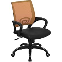 Flash Furniture Mid-Back Orange Mesh Swivel Task Chair with Black Leather Seat and Arms