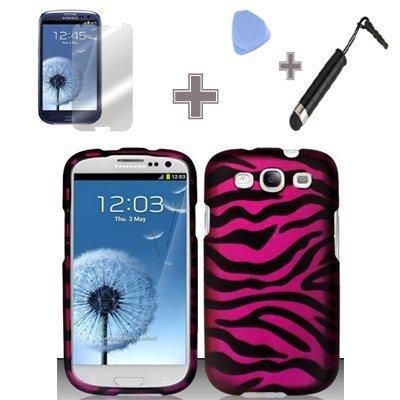 Cerhinu (4 Items Combo : Case - Screen Protector Film - Case Opener - Stylus Pen) Rubberized Bold Black Pink Zebra ()