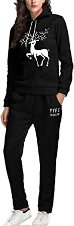 FSSE Womens Two Piece Hooded Sweatshirt and Pants Print Sports Outfit Set