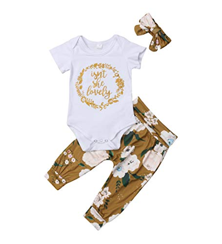 Isnt She Lovely 0-18M Infant Newborn Baby Girl Short Sleeve Bodysuit Tops Floral Pant Headband from MA&BABY