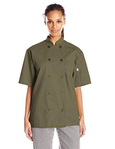 Uncommon Threads Unisex South Beach Chef Coat Short Sleeves, Olive, - Coat Chef Olive