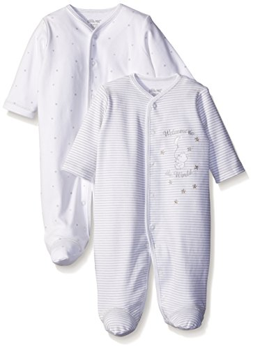 Little Me Baby Newborn Baby Unisex Welcome To The World 2 Pack Footies, White, 3 Months by Little Me