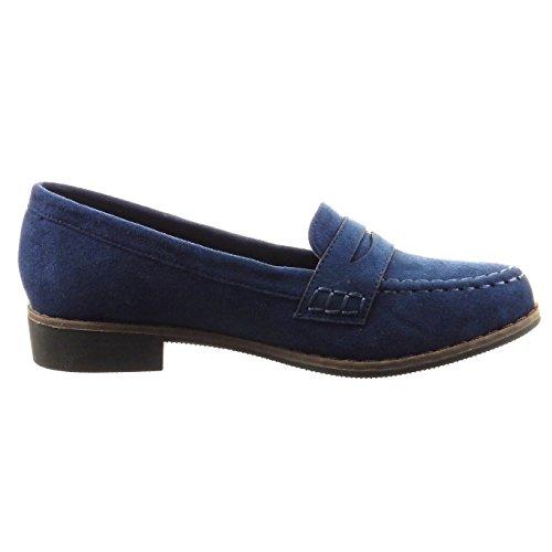 Sopily - Scarpe da Moda Mocassini alla caviglia donna finitura cuciture impunture Tacco a blocco 2.5 CM - Blu