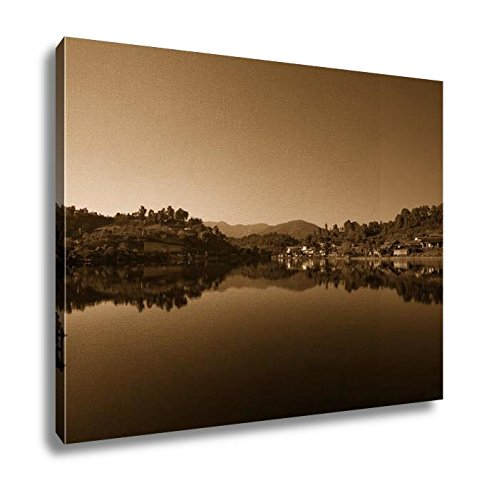 Ashley Canvas Beautiful Scene Of Houses View With Reflections Village In Thai, Wall Art Home Decor, Ready to Hang, Sepia, 16x20, AG6321784 by Ashley Canvas