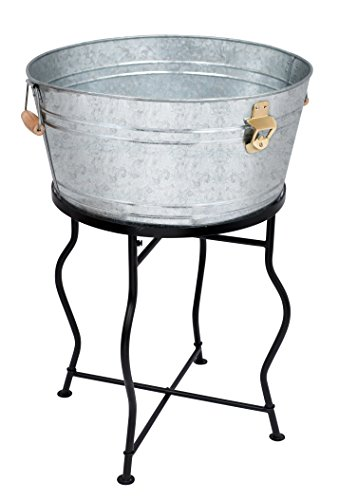 BirdRock Home Galvanized Beverage Tub with Stand | Bottle Opener | Party Drink Holder | Wooden Handles | Outdoor or Indoor Use | Free Standing