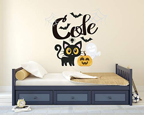 Personalized Name Wall Decal - Black Cat Halloween Wall Decal Vinyl Sticker Nursery for Home Bedroom Children