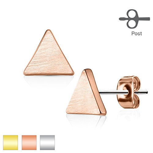 Inspiration Dezigns Pair of Earrings Studs Solid Triangle 316L Surgical Steel