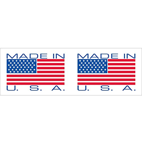 Tape Logic T902P15 Pre-Printed Carton Sealing Tape, Legend ''Made in USA'', 110 yds Length x 2'' Width, 2.2 mil Thick, Red on White/Blue (Case of 36) by Tape Logic