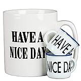 36oz beer mug - Jumbo Extra Large Coffee Mugs Set of 3 (White) - 36 Oz Oversized Mug With Big Handle, 2 Mini Condiment Mugs - Huge Ceramic Have a Nice Day Middle Finger Mug Cup by Oojdzoo