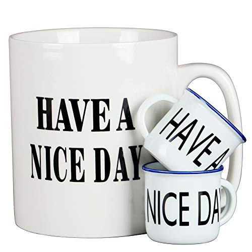 - oojdzoo Jumbo Extra Large Coffee Mugs Set of 3 (White) - 36 Oz Oversized Mug with Big Handle, 2 Mini Condiment Mugs - Huge Ceramic Have a Nice Day Middle Finger Mug Cup