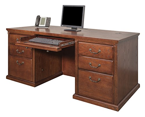 Martin Furniture Huntington Oxford 68 Double Pedestal Executive Computer Desk, Burnish Finish, Fully Assembled