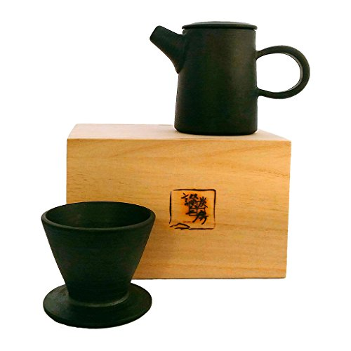 ZANTAN Handmade Ceramic Coffee Dripper and Pot Set, Far Infrared Radiation and Negative Ions, Reduce Bitter Taste, Pour Over Coffee Maker, 11.6 Ounce by ZANTAN (Image #6)