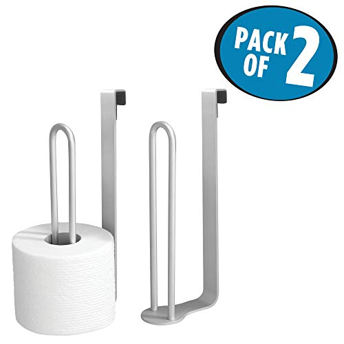 mDesign Aluminum Metal Modern Over-The-Tank Toilet Paper Holder Organizer for Bathroom Extra Organizing Storage, Set of 2, Silver by mDesign (Image #1)