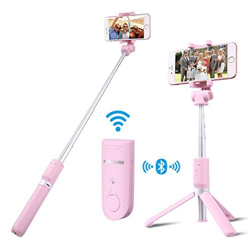 Selfie Stick Tripod,Poweradd Extendable/Foldable Aluminum Selfie Stick with Detachable/Wireless Remote for iPhone X/SE/6/6s/6 Plus/7/7 Plus/8/8 Plus/,Samsung 8/S8/S8 Plus,Nexus,LG,Moto and More-Pink