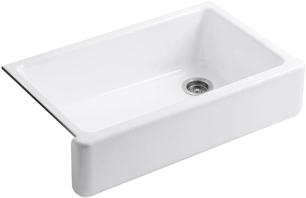 KOHLER Whitehaven Farmhouse Sink, Self-Trimming Tall Apron Front, K-6489-0, White